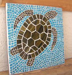 Sea Turtle Wall Art Turtle Wall Hanging Sea por bluewaveglass