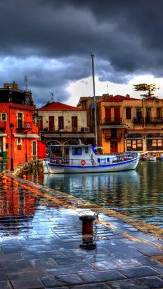 Rethymno, Greece, night, beach, cafes, street, hdr