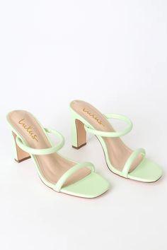 Heels Outfits, Shoes Heels, Sandal Heels, High Heels Sandals, Slide Sandals, Gladiator Sandals, Green High Heels, Green Sandals, Aesthetic Shoes