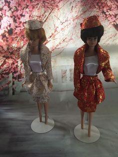 Theatre Date retro recreation in Japanese Brocade! Barbie Fashion Royalty, Fashion Dolls, Halloween Fashion, Collector Dolls, Vintage Barbie, Beautiful Bride, Cotton Dresses, Sheath Dress, Evening Gowns