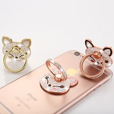 Fox Head Bling Phone Ring Holder with high quality Crystals,360 Rotation Ring Holder Finger Grip Universal Zinc Alloy Kickstand
