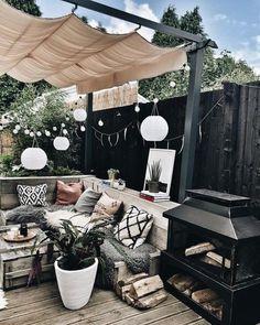 Hygge, Garden Sitting Areas, Patio Decorating Ideas On A Budget, Porch Decorating, Patio Ideas, Garden Design Ideas On A Budget, Back Garden Design, Small Courtyard Gardens, Backyard Patio Designs