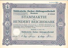 Süddeutsche Zucker AG / Inhaberaktie 100 RM,  Mannheim 1926 - ungelocht