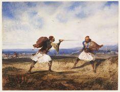 "Alexandre Gabriel Decamps: ""Albanian Duel"", 1828."