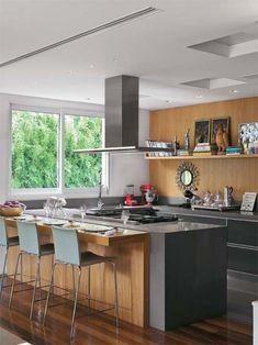 As tendências de decoração de cozinha americana e cozinha gourmet são uma verdadeira inspiração: Veja 57 fotos com modelos de cozinhas incríveis! #Modelosdecasas