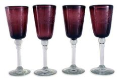 Etched wine glasses, 'Grape Blossoms' (set of 4) by NOVICA. $87.95. A fair trade product. Dishwasher safe, top rack recommended||This hand blown item may vary slightly in color, size and shape. Handmade by Javier and Efren. Normally ships directly from Mexico within 10 days.. NOVICA, in association with National Geographic, searches the world to work directly with the finest artisan designers. Poised graciously on transparent stems, deep grape wine glasses host floral patter...