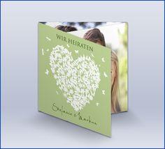 """Hochzeitseinladungskarte """"Butterfly-Herz Grün"""""""