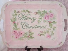 ROMANTIC MERRY CHRISTMAS TRAY hp roses chic shabby vintage cottage hand painted