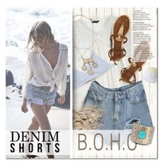"""The Final Cut: Denim Shorts Boho Beach Style"" by anna-anica ❤ liked on Polyvore featuring Piet Hein Eek, J.Crew and Eloquii"