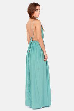 Titania's Woods Backless Seafoam Maxi Dress at LuLus.com!