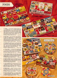 Christmas hampers Cheese collection. 1972 Sears Wish Book page 339