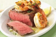 Check out this delicious recipe for Filet Mignon Steaks with Garlicky Shrimp from Weber—the world& number one authority in grilling. Ribs Au Barbecue, Bbq Beef Ribs, Ribs On Grill, Filet Mignon Steak, Beef Filet, Grilling Recipes, Meat Recipes, Cooking Recipes, Grilling Tips