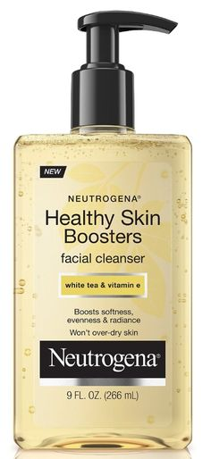 """Neutrogena: Healthy Skin Boosters Facial Cleanser / """"The rich, cushioning formula cleanses skin without over-drying and gently washes away dull surface skin cells. Infused with antioxidant white tea and moisturizing vitamin E, the formula boosts three signs of healthy-looking skin: softness, evenness, and radiance. For skin that looks and feels healthy every day."""" / $7.99"""