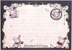 cute Sentimental Circus Memo Pad bunny & musical notes 4