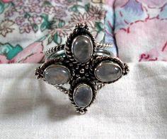 RING   QUAD  MOONSTONE   925  Sterling Silver   by MOONCHILD111 https://www.etsy.com/shop/MOONCHILD111