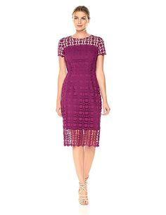 London Times Women's Geo Circle Petal Lace Sheath Dress