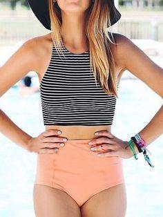 Monochrome Stripe Bikini Top And Pink High Waist Bottom