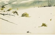Artwork by Andrew Wyeth, A Christmas Card (Branches in Winter), Made of watercolor on paper