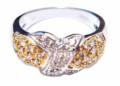 14k Two Tone Gold 0.60ct TDW Diamond Anniversary Ring size 7 B41. #Anniversaryring