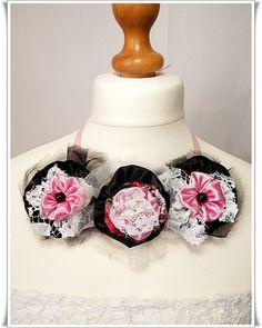 Fabric necklace fabric flower necklace handmade by Zigettasstyle, $41.00