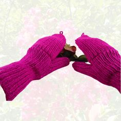 Women's Convertibles Hand Knit Fuchsia Sparkle Hobo Gloves Mittens by CraftingMemories1 on Etsy