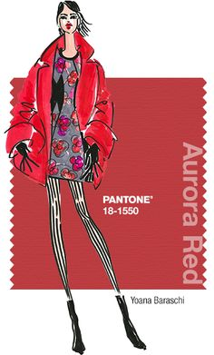 Yoana Baraschi in Pantone Aurora Red - FALL 2014 PANTONE's FashionColorReport - PROMINENT COLORS White, Black and Pearl Gray with Tangerine Tango and Grenadine. The Red family from Grenadine to Persimmon. Tonalities of Red with Orange and Pink accents, anchored in a neutral palette of Black, Gray, White and Mushroom.