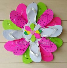 Beautiful Handmade Watermelon Flip Flop Wreath by TheFlipFlopDaisy