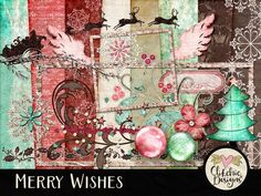 Christmas Digital Scrapbook Kit Clip Art - Merry Wishes Digital Embellishments & Papers by ClikchicDesign Snowflake Background, Star Background, Paper Background, How To Age Paper, Santa And Reindeer, Digital Scrapbooking Layouts, Paper Frames, Elements Of Art, Scrapbook Kit