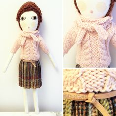 Severina Kids Organic Cotton Doll.  Hand knitted Wool sweater and pleated skirt.