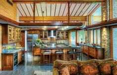 A Frank Lloyd Wright-Inspired Kitchen - Old House Journal Magazine Frank Lloyd Wright, Crown Point Cabinetry, Craftsman Kitchen, Craftsman Style, Craftsman Shelving, House Journal, Kitchen Cabinetry, Custom Cabinetry, Inspired Homes