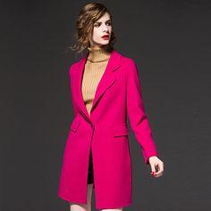 Womens Winter Jackets and Coats Single Button Elegant Warm Women Slim Woolen Coat Thicken Women Coat Jacket high quality