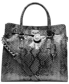 MICHAEL Michael Kors Handbag, Hamilton Large Python North South Tote - MICHAEL Michael Kors - Handbags & Accessories - Macy's