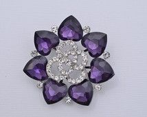 Rhinestone Purple Brooch Wedding Brooch Purple Crystal Wedding Brooch Purple…
