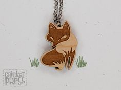Fox - Wood Pendant Necklace