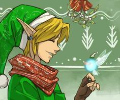 Christmas Link and Navi....awww look at Navi blushing i wish i was under that mistletoe