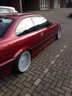 Callypsorot BMW e36 coupe on cult classic Borbet B  wheels