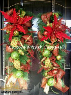 Christmas Mesh Door Swags with Bells set of two by lilmaddydesigns, $150.00