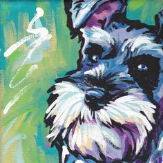 Schnauzer art print modern Dog pop art bright by BentNotBroken