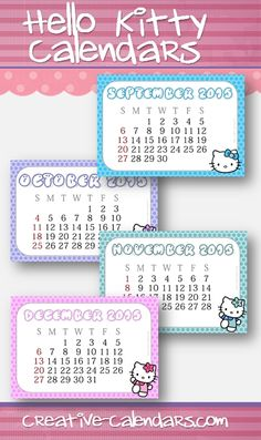 Free printable calendars with Hello Kitty for 2017! Instant download!