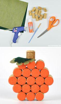 DIY Wine Cork Pumpkin | Vicky Barone