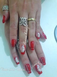 Red has it Long Nail Art, Long Nails, Great Nails, Fabulous Nails, Pedicure Designs, Nail Art Designs, Flower Nails, Matte Nails, Nail Arts