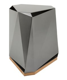 Steven Volpe Coburg Faceted Side Table in Argento (metallic grey), and Natural Teak base. Open at the top and bottom, this table is suitable for indoor or outdoor use.