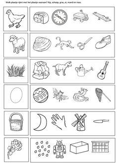 Welk plaatje rijmt met het plaatje vooraan? Kip, schaap, gras, ei, mand en roos. [Juf Sanne]