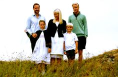 The Norwegian Crown Princely couple and their children.  Crown Prince Haakon, Princess Ingrid Alexandra, Crown Princess Mette-Marit, Prince Sverre Magnus and Marius Borg Hoiby. (Marius is CP Mette-Marits son from before she met CP Haakon.)