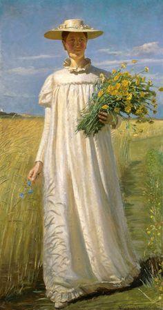 Michael Peter Ancher (1849-1927): Anna vender hjem fra marken, 1902