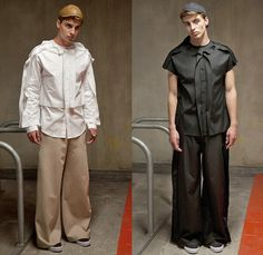 palmer//harding 2015 Spring Summer Mens Lookbook Presentation - British Fashion UK United Kingdom - Raw Edges White Shirt Button Down Long Sleeve Wide Leg Trousers Palazzo Pants Shorts Fold Out Multi-Panel Abstract Print Sweater Jumper Crop Top Midriff Metallic Foil Outerwear Jacket Overlay