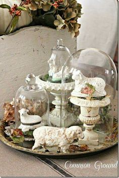 spring cloche vignette group several cloches on a plate or tray Glass Domes, Glass Jars, Cloche Decor, Vibeke Design, Seasonal Decor, Holiday Decor, The Bell Jar, Bell Jars, Deco Floral