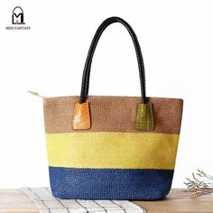 Tri-Color Leather Handled Straw Beach Bag