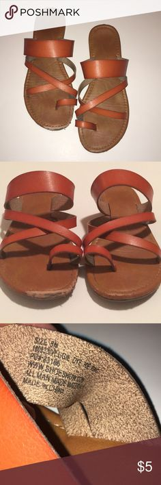 Faux leather straps Boho style Sandals Sz 8-boho style faux tan leather sandals showing wear but still have another summer left in them. Goes all outfits & very comfy (my daughter loved them but outgrew them). Palms Shoes Sandals