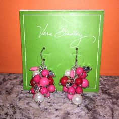 """SALE Vera Bradley Pink Earrings NWTs ✨ Vera Bradley Confetti """"Cheery Blossom"""" Silver Tone Earrings NWTs • Lively clusters of beads compose these drop earrings • Earring wires are nickel safe • Dimensions: 1 ¼"""" L • Listing for earrings • Photos shown w/ matching necklace/bracelet for bundle suggestions only • smoke free home • 20% donated to the American Cancer Society • Thanks & Happy Poshing! ✨ Vera Bradley Jewelry Earrings"""